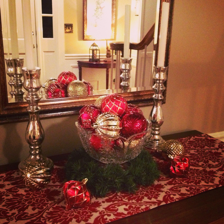 Elegant Foyer Decoration Mercury Glass Candle Sticks And Crystal Bowl