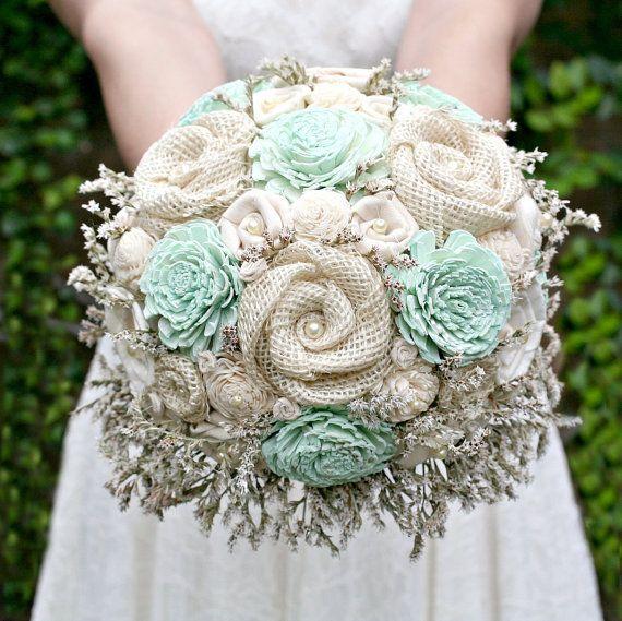 Gray Flower Bouquet Mint Bridal Bouquet Mint Wedding Bouquet Mint and Gray Sola Wood Flower Bouquet Burlap Bouquet Mint Flower Bouquet