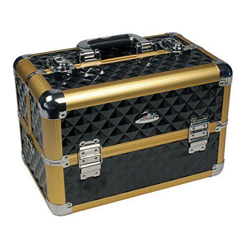 Beauty Case Alu Koffer Kosmetikkoffer Visagistenkoffer Friseurkoffer Sunrise gold schwarz 20 Liter 15 Fächer