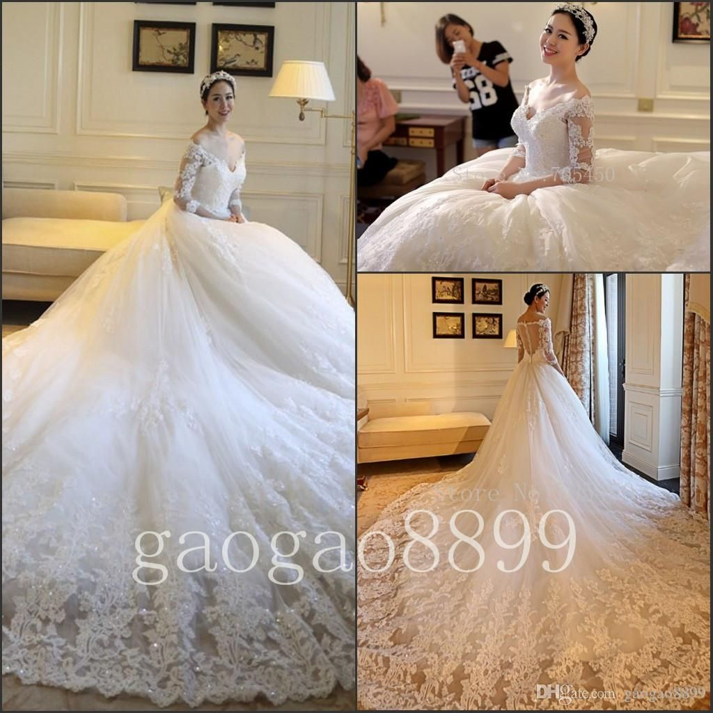 4a44df37446 2016 Full Lace Wedding Dresses Amazing Luxury Chapel Train Dubai Arabic V  Neck Off Shoulder Long Sleeve Berta Wedding Gowns Wedding Bridal Wedding  Dress ...