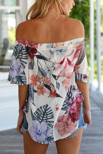 b28ca8696 Sexy Off Shoulder Random Floral Print T-shirt