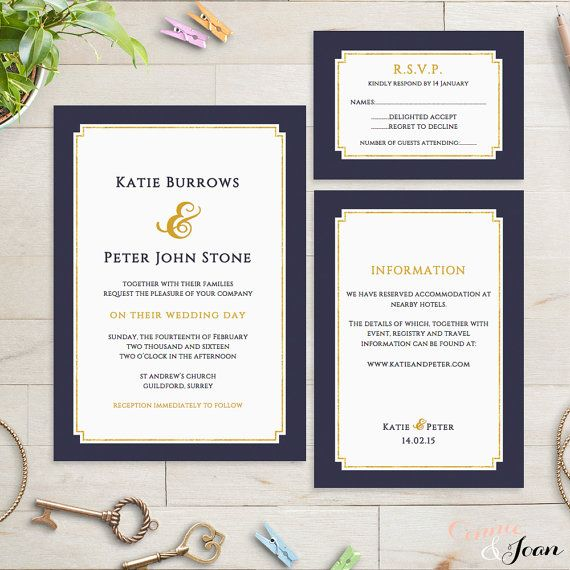 Navy and gold printable Wedding Invitation, RSVP and Information - free printable wedding invitation templates for word