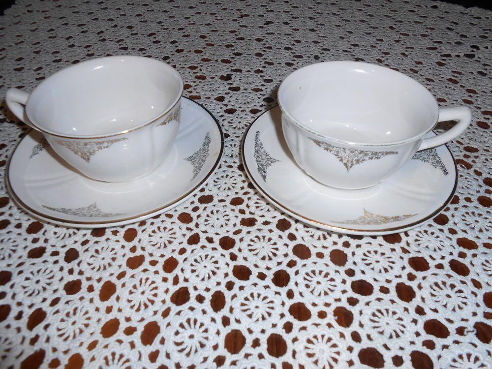 Coppia di tazze da colazione vintage ceramiche f.a.c. albisola oro