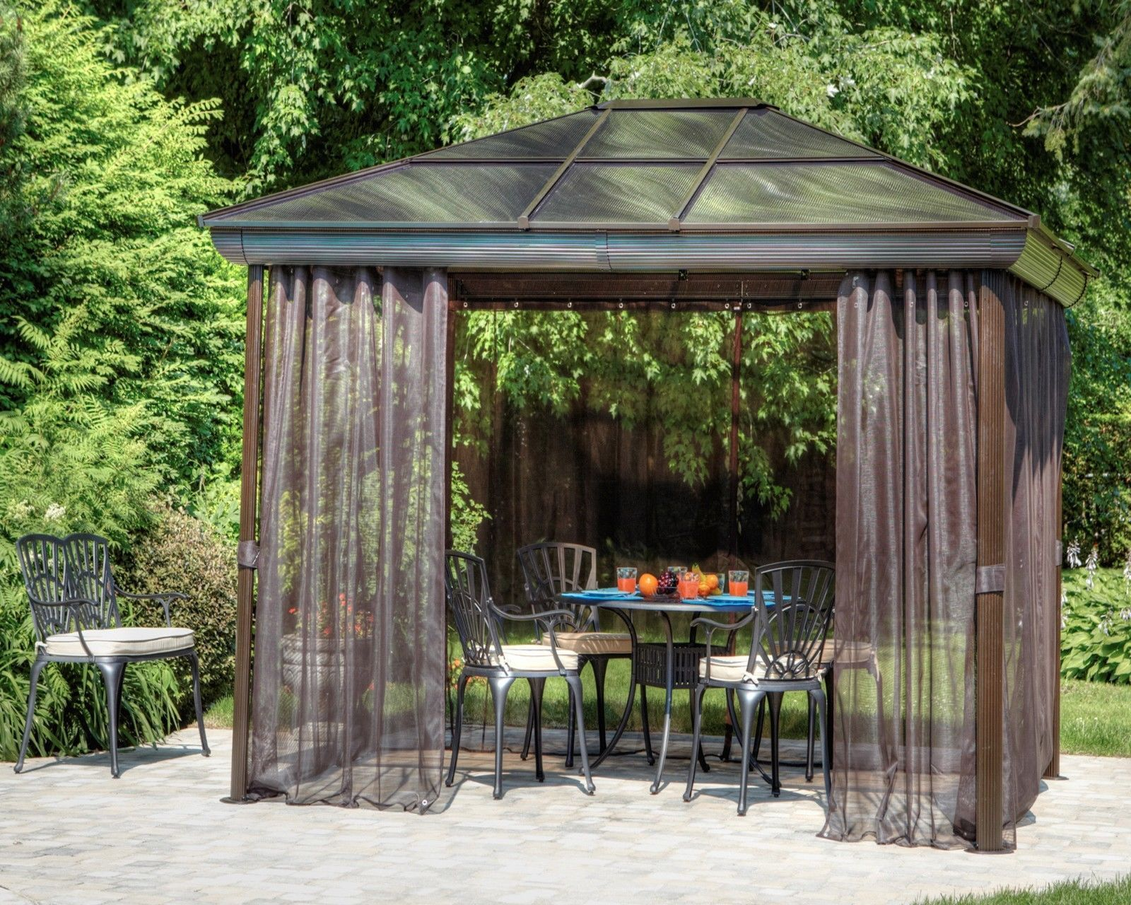 Outdoor Hardtop Gazebo Garden Metal Roof Canopies And Gazebos 10x14 For  Patio | EBay