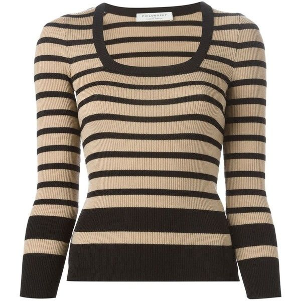 Philosophy Striped Ribbed Sweater ($339) ❤ liked on Polyvore featuring tops, sweaters, black, stripe top, stripe sweater, black top, black ribbed sweater and rib sweater