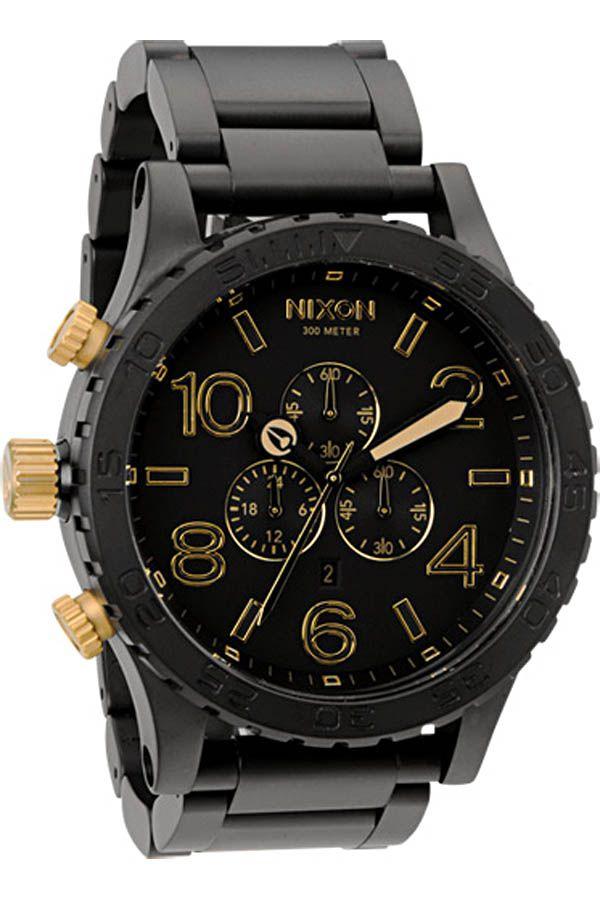 4af90f758d1 Nixon Men s 51-30 Chrono Matte Black and Gold Watch