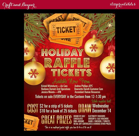 Christmas Raffle Tickets 50 50 Flyer Holiday Seasonal Raffle Event Invitation Poster Contest Drawing Poster Gift Template Event Invitation Holiday Raffle Raffle Tickets