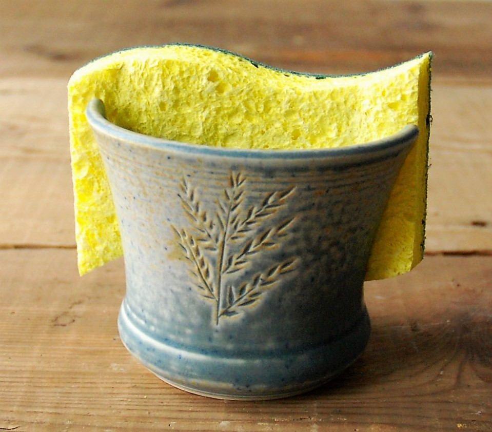 Ceramic Sponge Holder With Soft Gray Flowering Bush Design Kitchen Sponge Holder Pottery Sponge Dish Sp Sponge Holder Kitchen Sponge Holder Dish Soap Holder