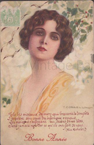Tito Corbella Artist Signed Postcard Elegant Woman Mistletoe and French Poem