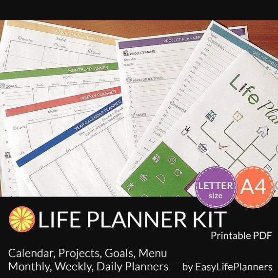 Life Planner Printable, Binder Inserts, Daily Planner 2020