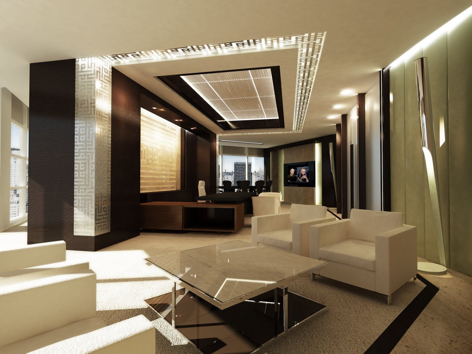 Asymetrical office layout for luxury and modern concept of for Modern corporate office design