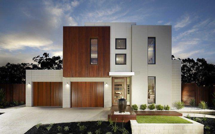 Fachada de casa moderna con ventanas rectangulares for Casas rectangulares
