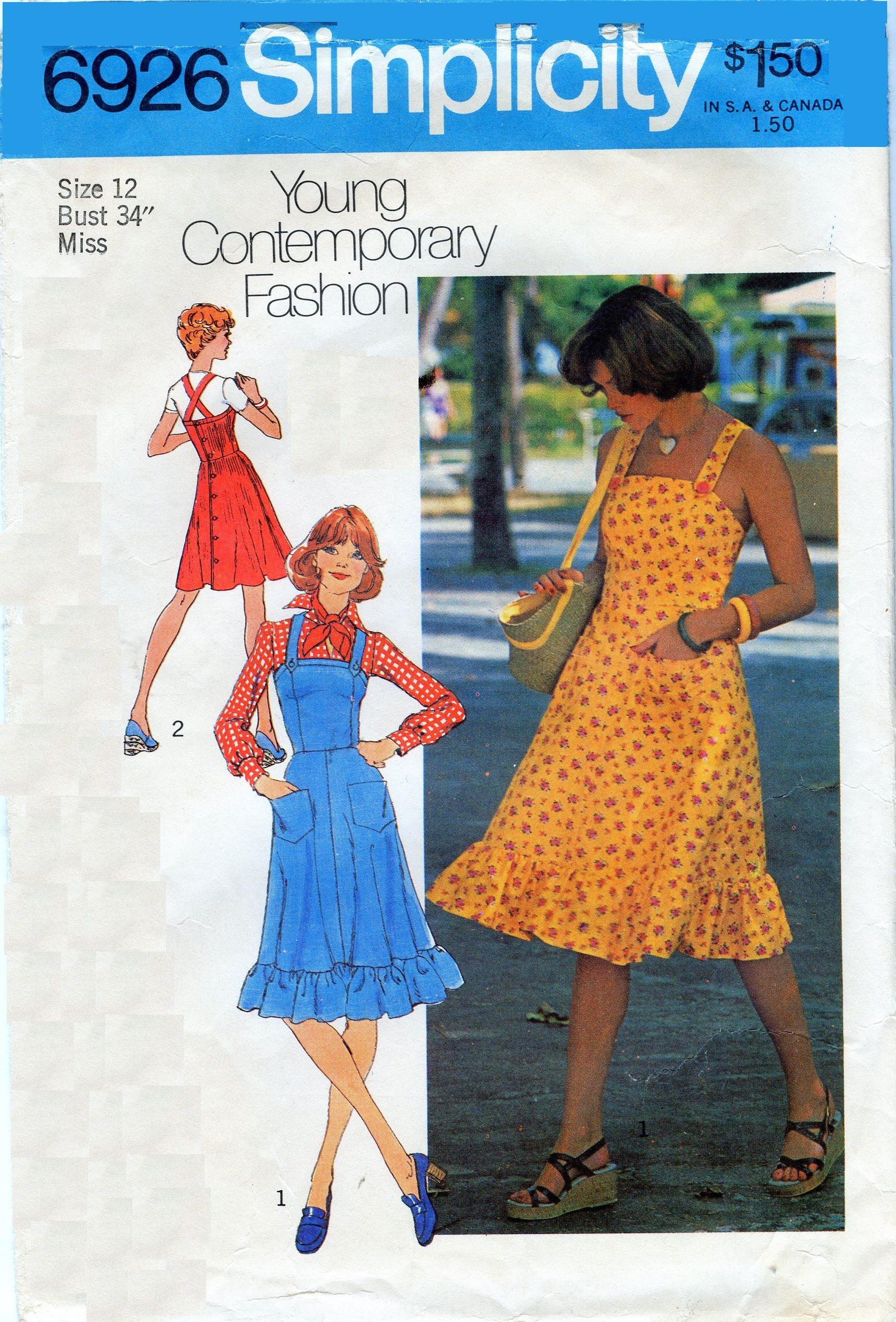 1970s Simplicity 6926 Misses Dress Jumper Sewing Pattern Ruffle Hem Shoulder Straps Cross I Vintage Sewing Patterns Sundress Pattern Simplicity Sewing Patterns