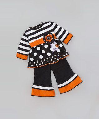 Black & White Stripe & Polka Dot Outfit for 18'' Doll