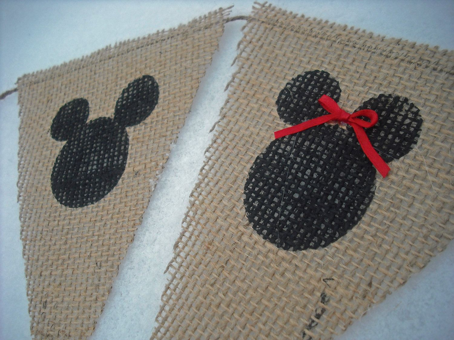 Mickey Mouse Birthday Burlap Banner / Photography Prop. $19.00, via Etsy.