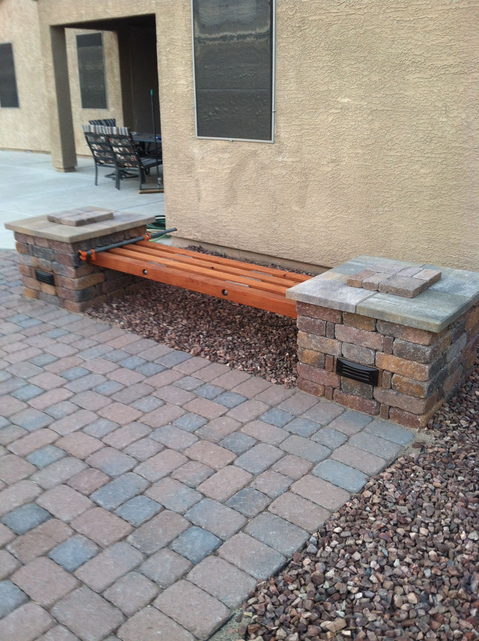 Diy Rumblestone  Beam Bench With Stone Spacers And   All Thread Custom Formed Bricks To House Malibu Lighting