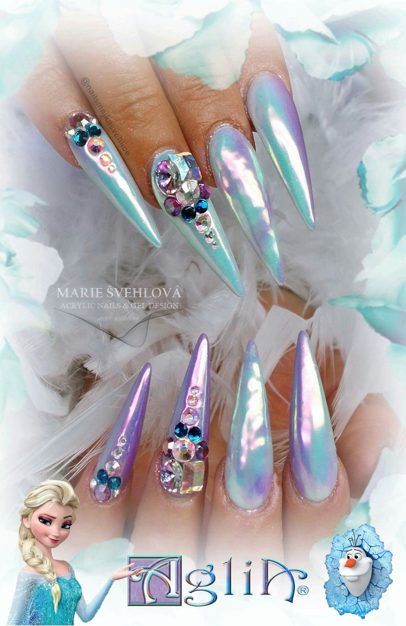 Acrylic Nails Gel Design Frozen Turquoise Nails Work Nails Rhinestone Nails
