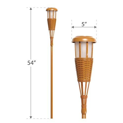 Amazon.com: Newhouse Lighting FLTORCH4 Solar-Powered Flickering Flame Outdoor Island Torches, 4-Pack, Bamboo: Garden & Outdoor