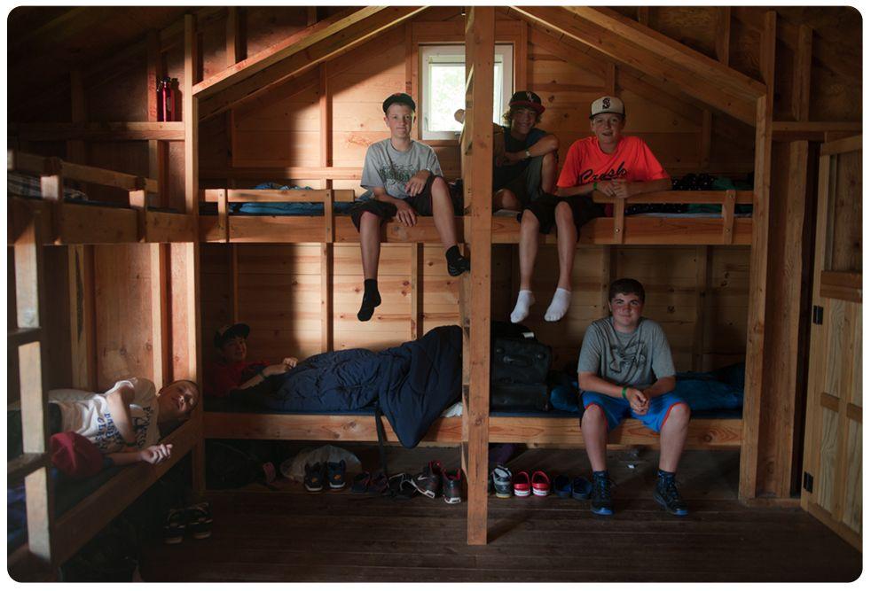 boys in cabin bunks, Camp Orkila, WA state in the San Juans ...