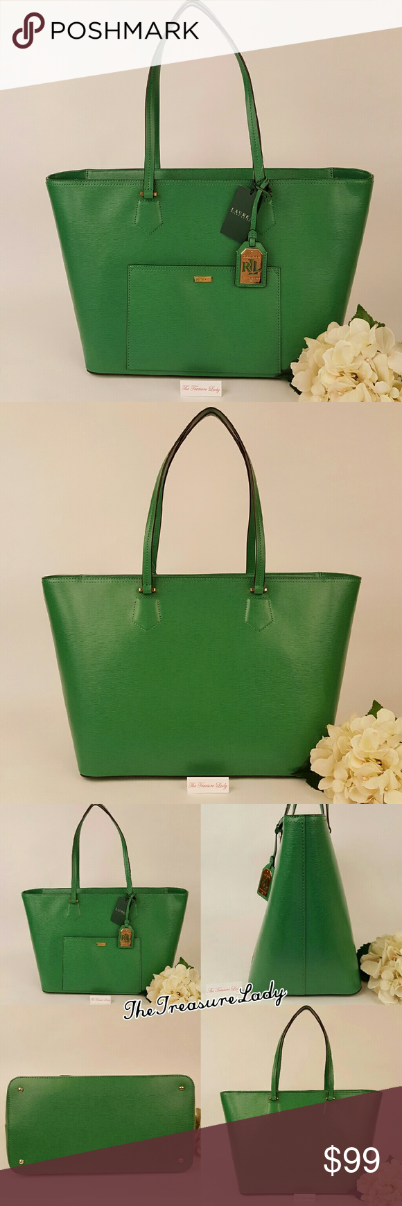 Ralph Lauren Lowell green tote bag handbag purse  Authentic  NWT  Style    431600601012  Large size tote  Green color  100% leather  Gold-tone  hardware   Zip ... 532121c7a8