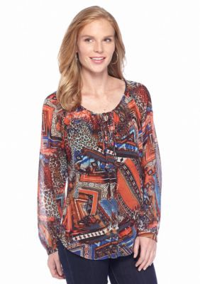 New Directions  Tie Front Tribal Peasant Top