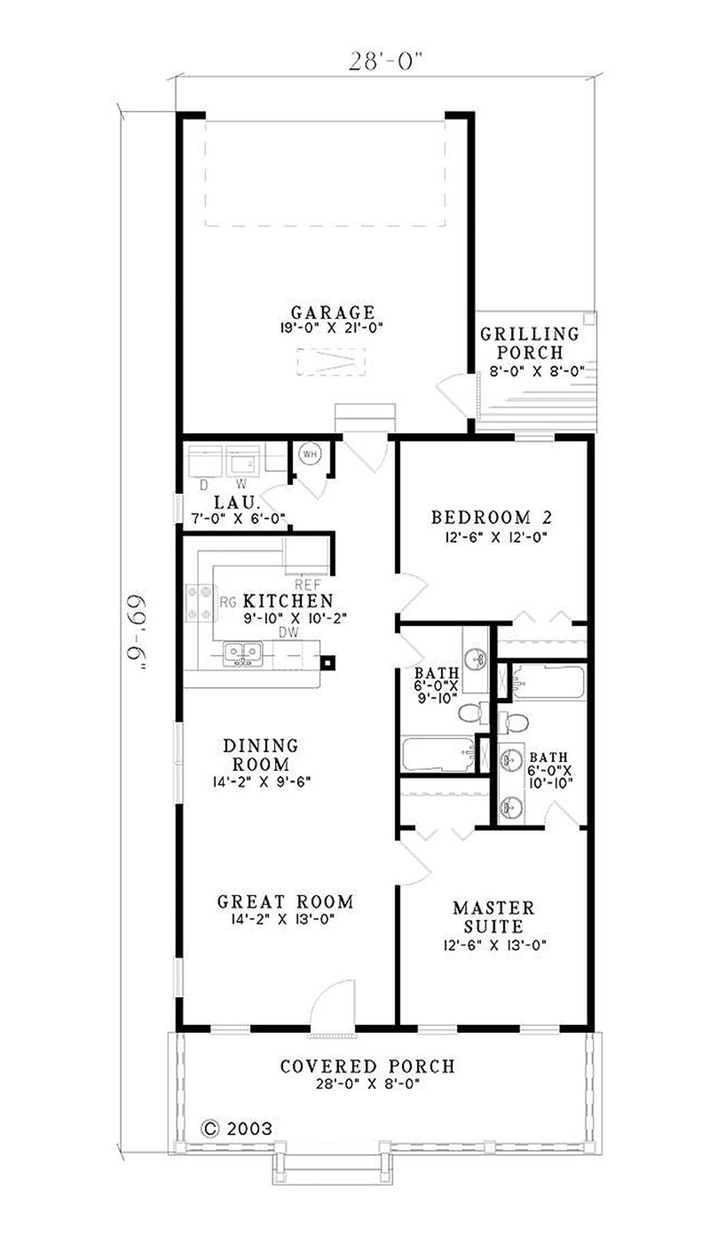 southern style house plan 2 beds 2 baths 1120 sq ft plan 17 554 ranch house plans