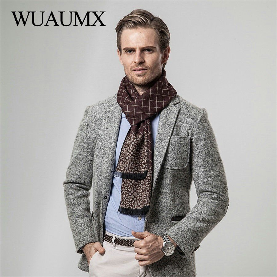 340aa6ee93100 Wuaumx Vintage Winter Scarf Men Business Style Scarves Male Imitation  Cashmere Thick Warm Neckerchief Soft Plaid foulard homme now available on  Affordable ...