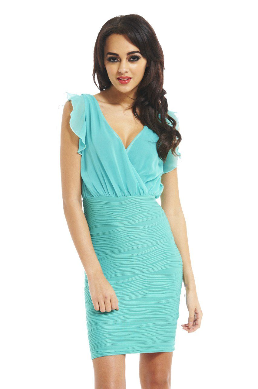 AX Paris Women\'s Two In One Ruffle Skirt Chifon Front Aqua Midi ...