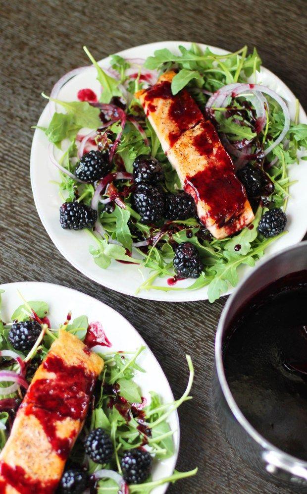 Salmon with Blackberry Gastrique Sauce