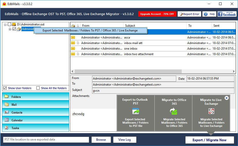 5  Convert OST to PST, Office 365, Live Exchange file a