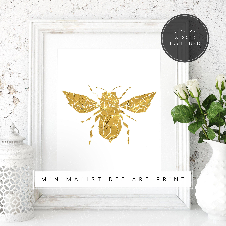Honey Bee Art Print - Geometric Animal Print - Minimalist