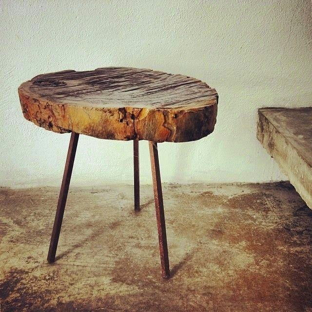 Mesas realizadas con troncos mesas tronco madera - Mesas de noche rusticas ...