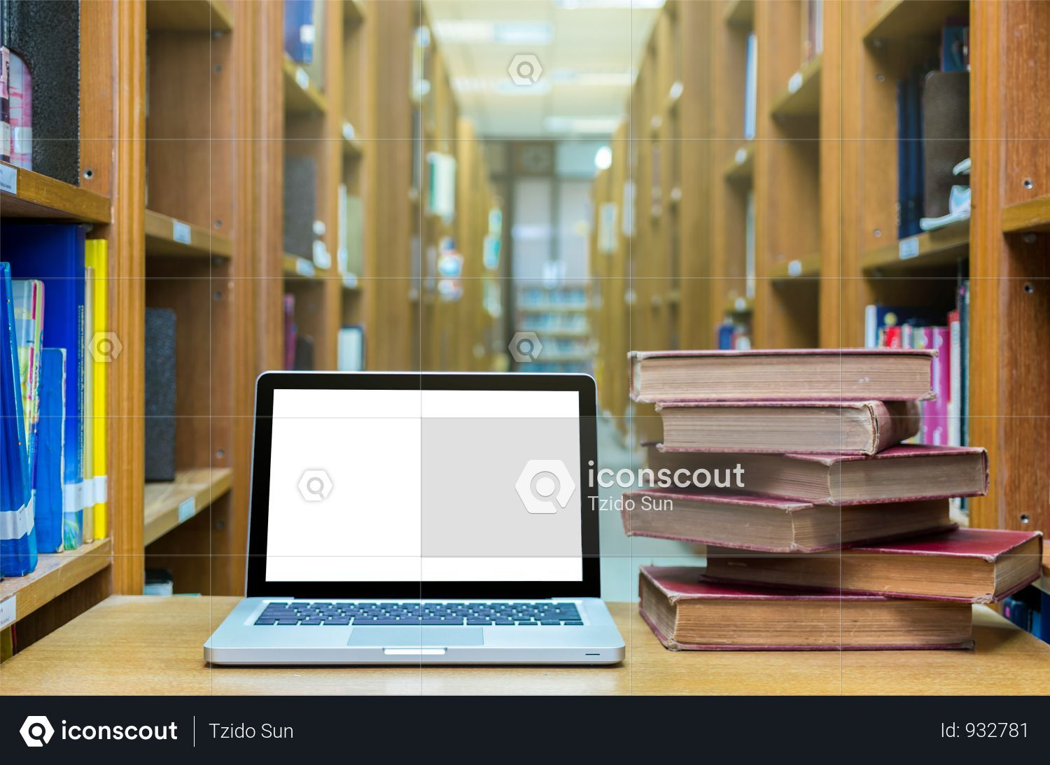 Premium Laptop Computer With Old Books On The Wood Table In Library Education Concept Photo Download In Png Jpg Format Laptop Computers Education Wood Table