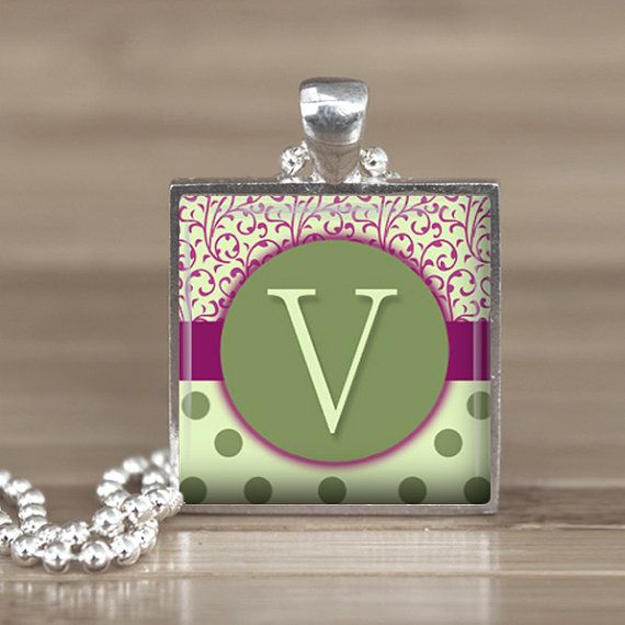 25mm Green Letter V Initial in a Silver Square
