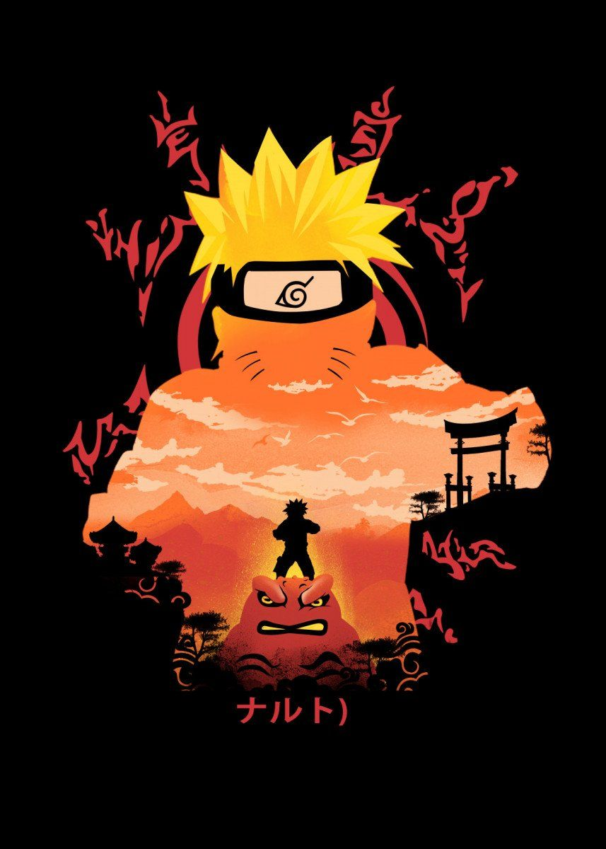 Hero Of The Hidden Leaf - Illusion Negative Space – Poster - Canvas Print - Wooden Hanging Scroll Frame