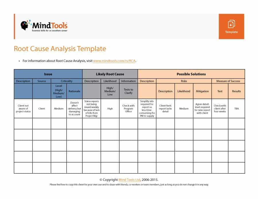 Root Cause Analysis Template   Excel    Template