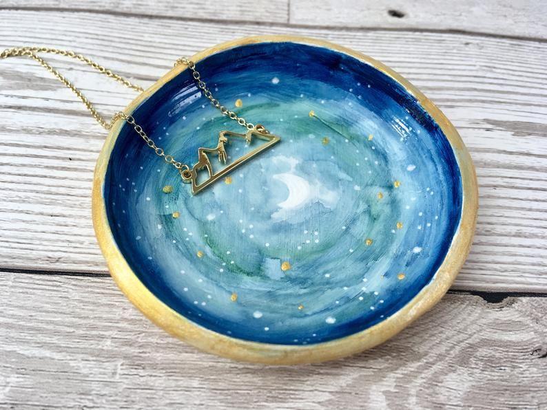 Starry Night Handmade Clay Trinket Dish