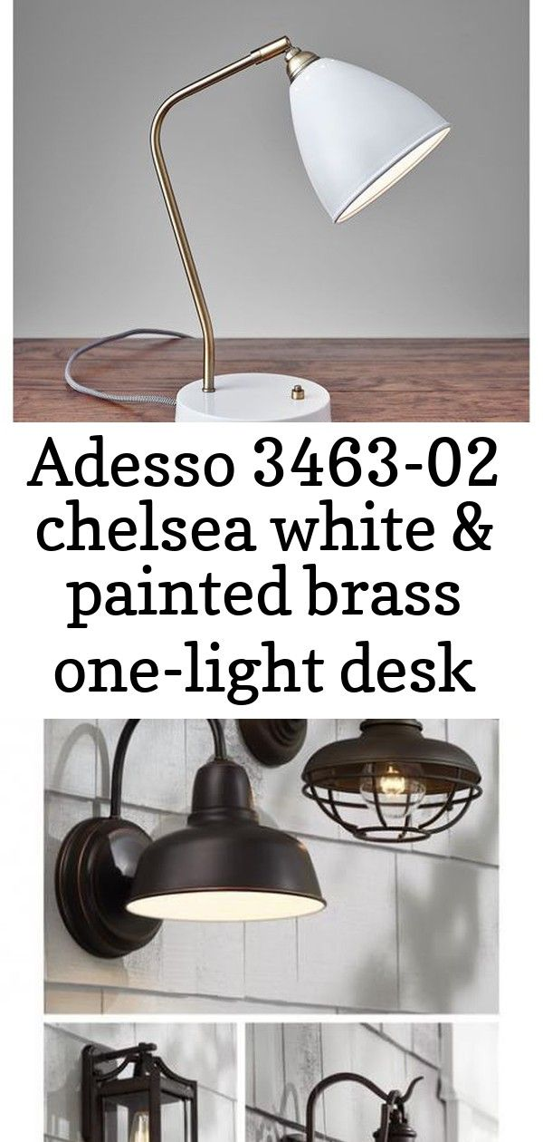 Adesso 346302 chelsea white  painted brass onelight desk lamp in painted brasswhite transition 1 Adesso 346302 Chelsea White and Painted Brass OneLight Desk Lamp  Bellaco...