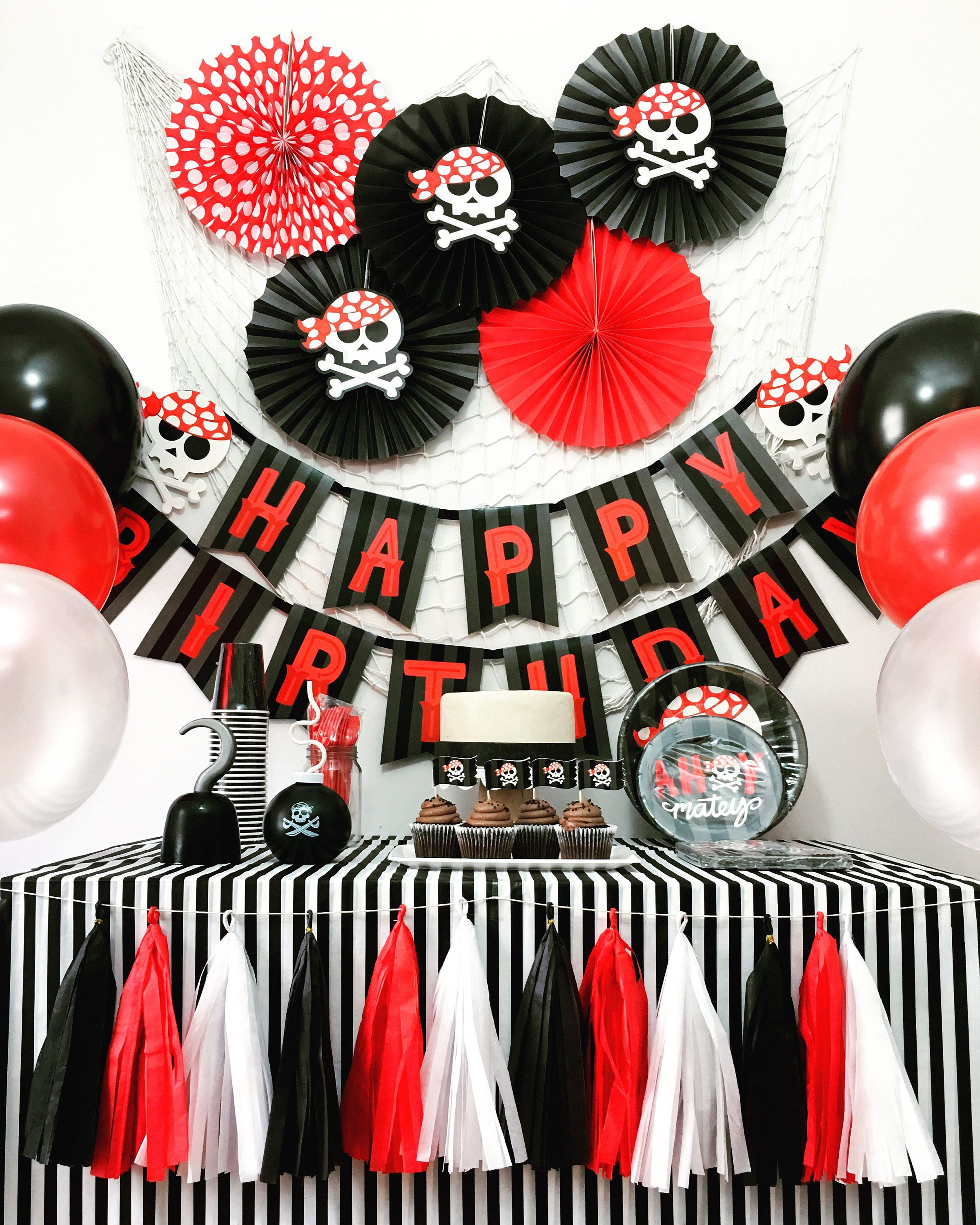 Red Printed Paper Pirate Hat Pirate Halloween Birthday Party Decor