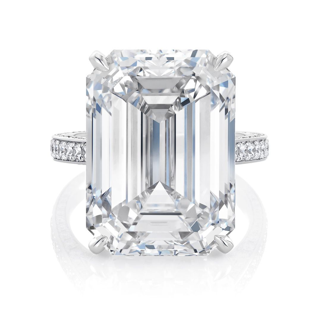 De beers emerald cut solitaire ring solitairering wedding ring