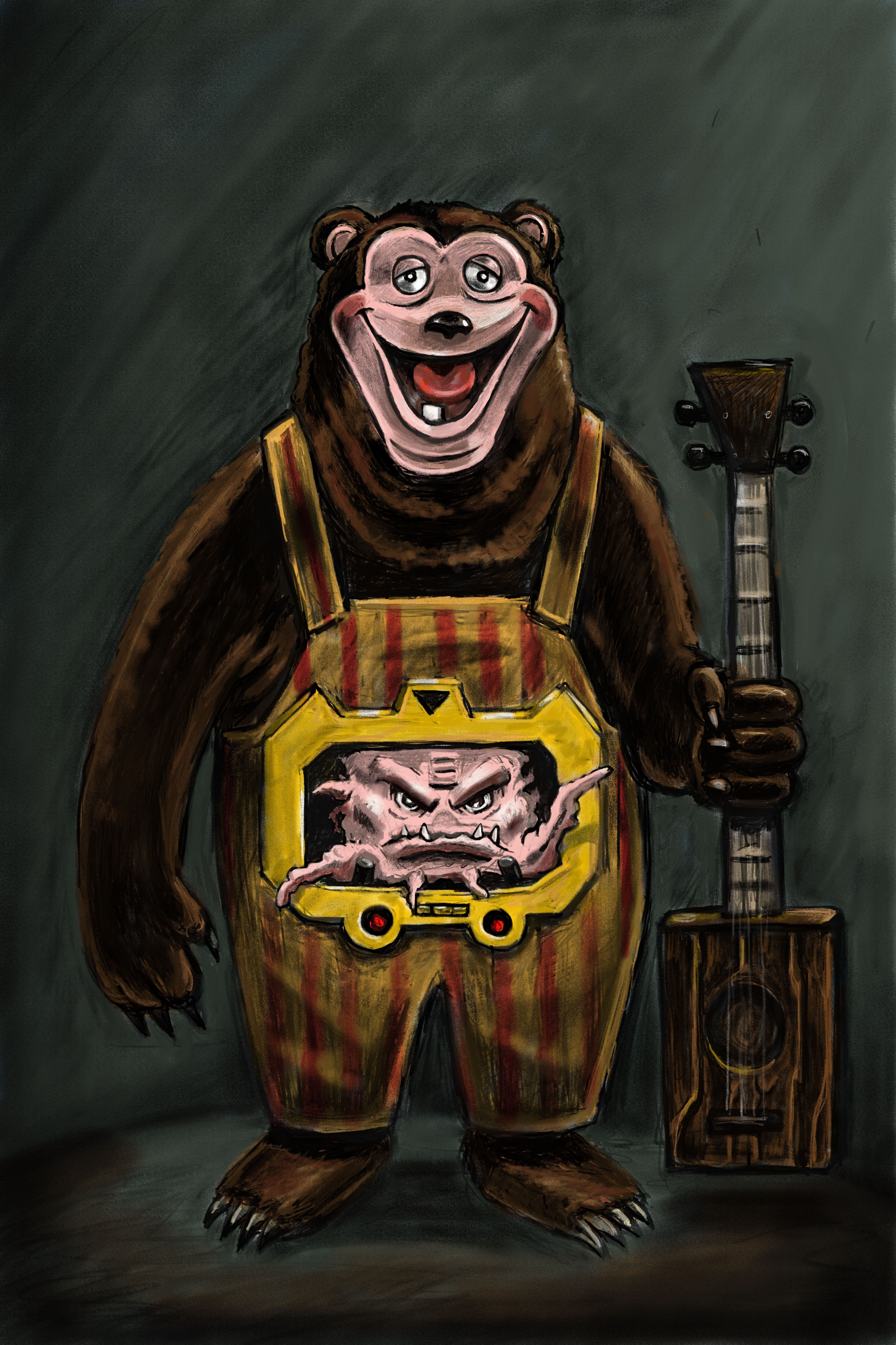 Krang With A Showbiz Pizza Bear Android Body Photo Video