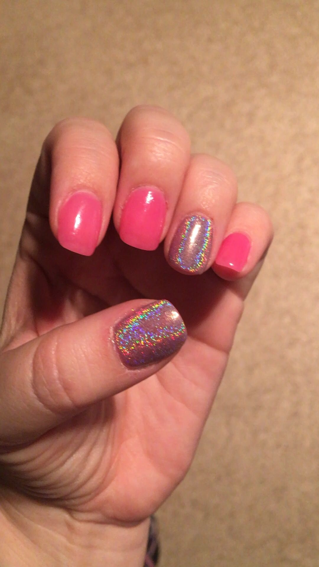 pink sns nails with accent rainbow