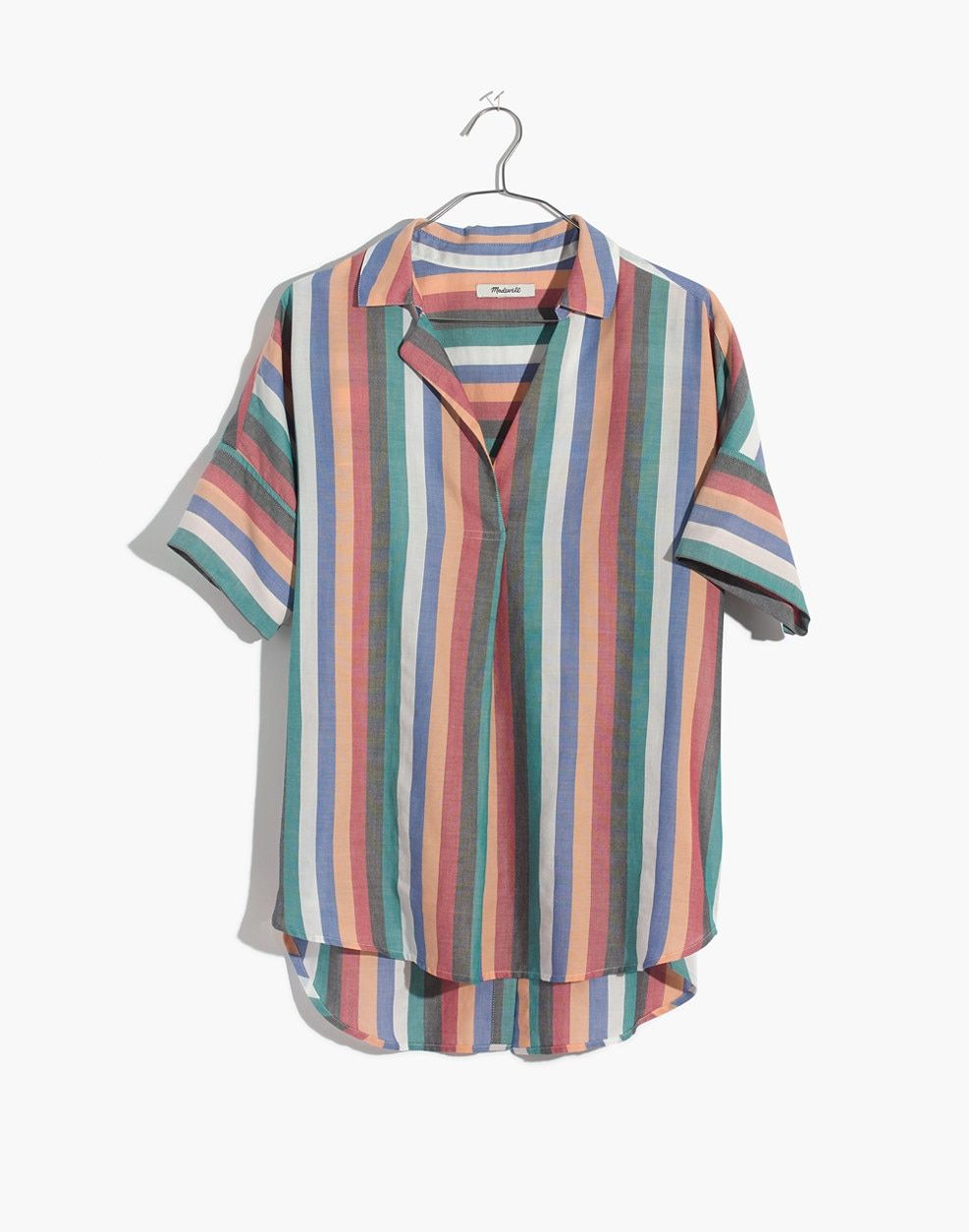 f72a4053dd Madewell Courier Button-Back Shirt In Festival Stripe