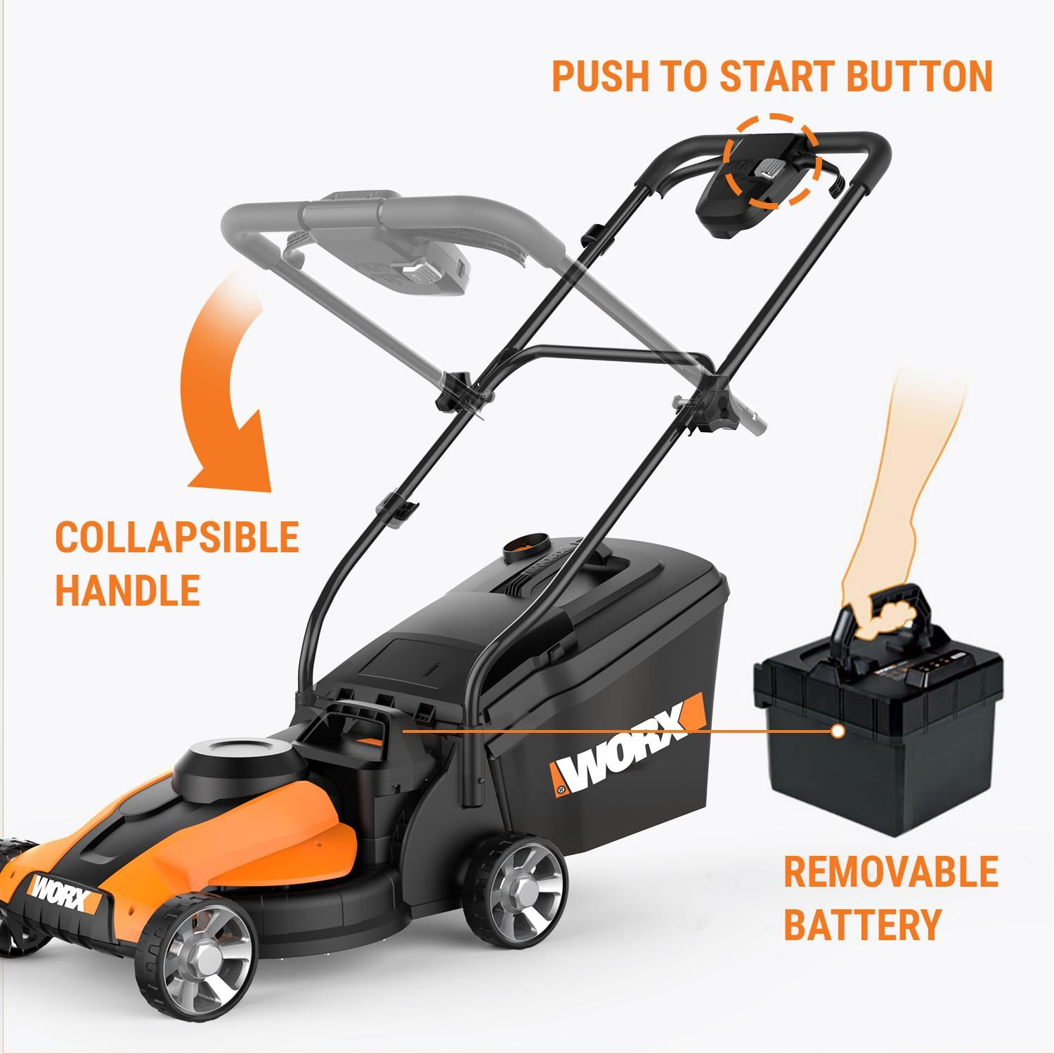 Worx 14 Inch 24 Volt Cordless Lawn Mower With Easy Start Feature
