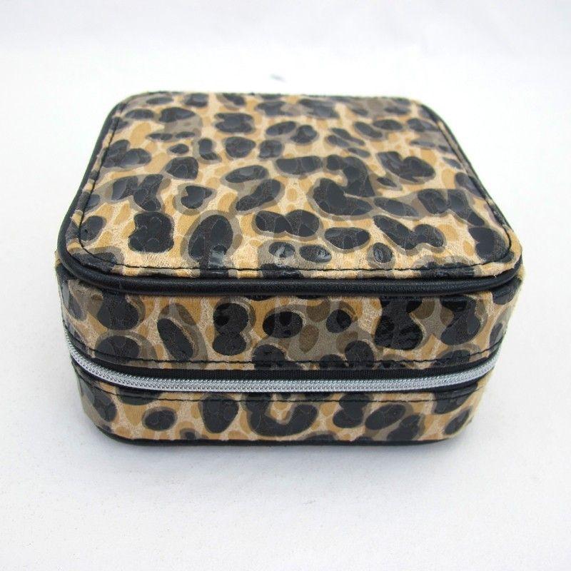 97af54b7b0855 Women s Leopard Cheetah Print Fabric Jewelry Travel Box Case Holder ...