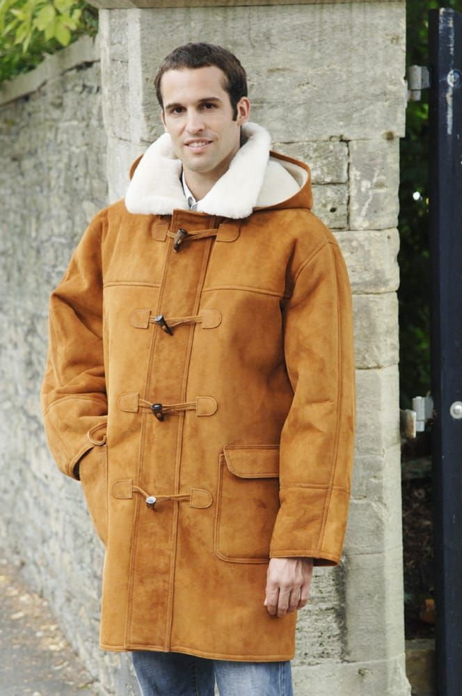 Mens traditionally styled sheepskin duffle coat with a detachable ...