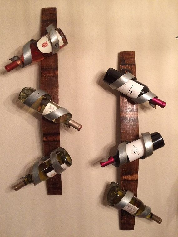 Wine Barrel Stave Wall Hanging Wine Rack In 2019 Diy