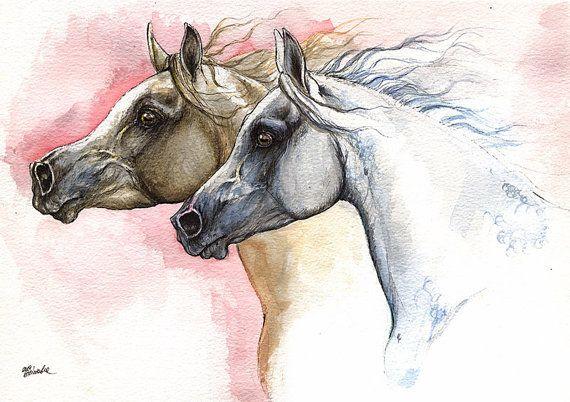 Arabian horses original pen and watercolour by AngelHorses on Etsy