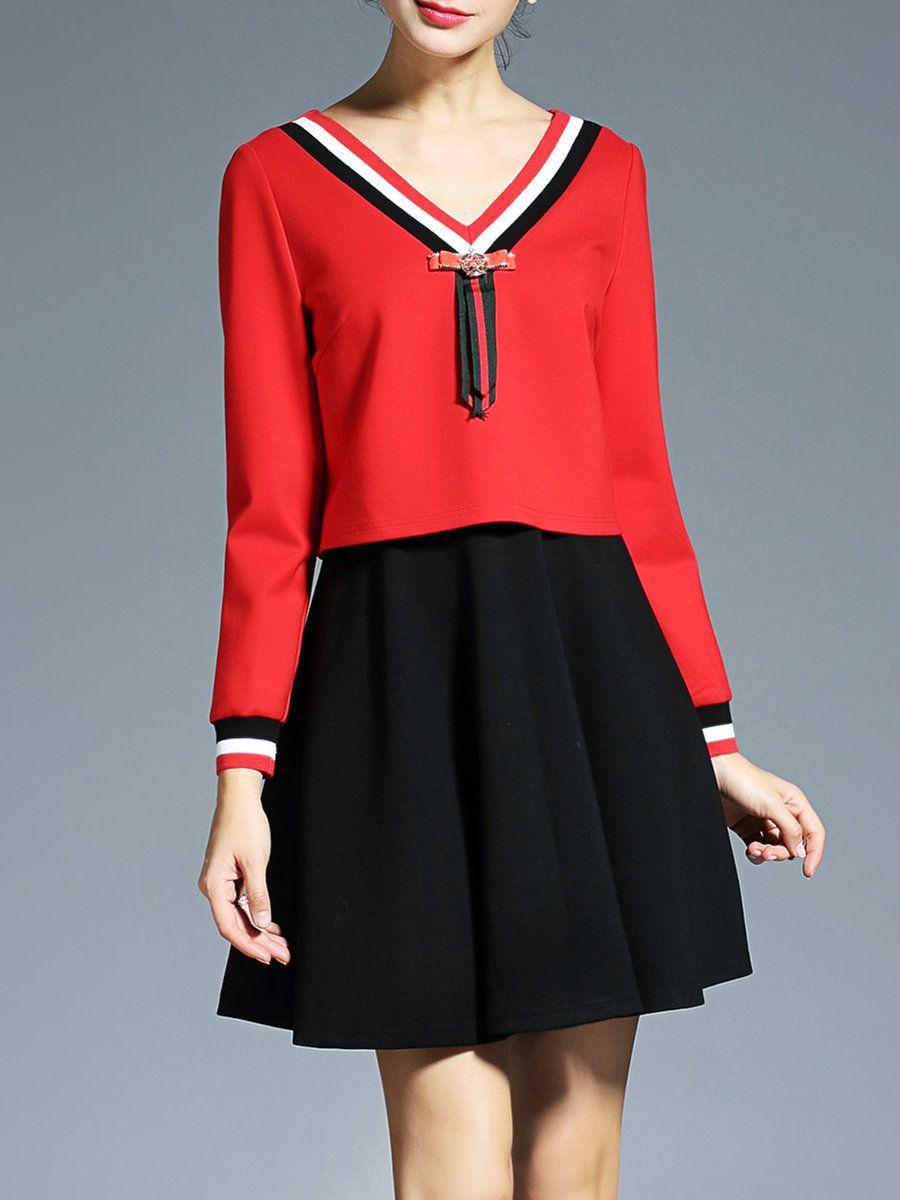 Adorewe aofuli long sleeve casual colorblock mini dress adorewe
