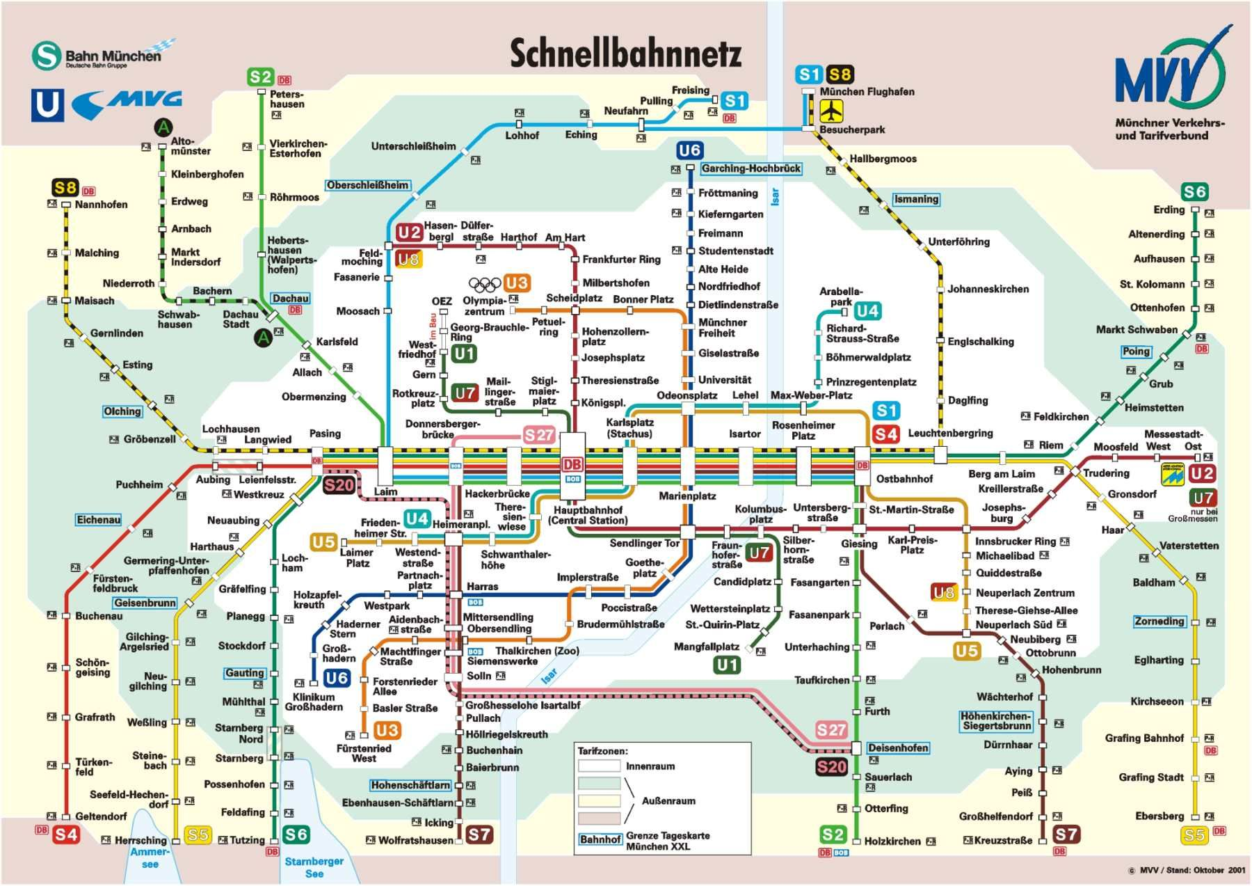 Munich Subway Map.Munich Minchen Train Train Map Subway Map Munich